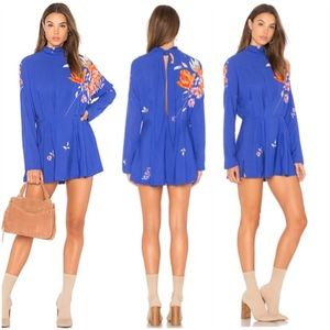 Free People Blue Gemma Tunic with Flowers